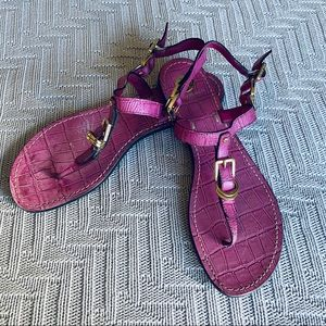 Tory Burch pink-purple strappy flat sandals size 9